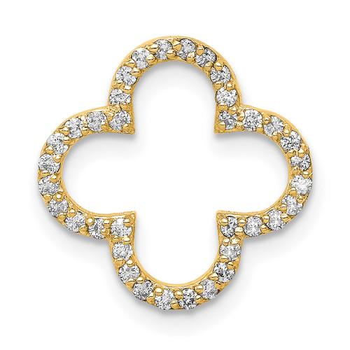 Lex & Lu 14k Yellow Gold Small Diamond Quatrefoil Design Pendant - Lex & Lu