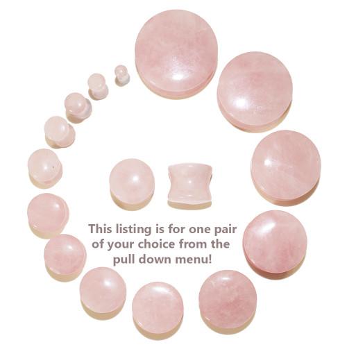 """Lex & Lu Pair of Double Flare Genuine Rose Quartz Stone Organic Ear Plugs 10G-1"""" Gauge-2-Lex & Lu"""