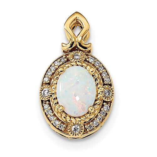 Lex & Lu 14k Gold w/Austrian Opal & Diamond Pendant LAL120033-Lex & Lu