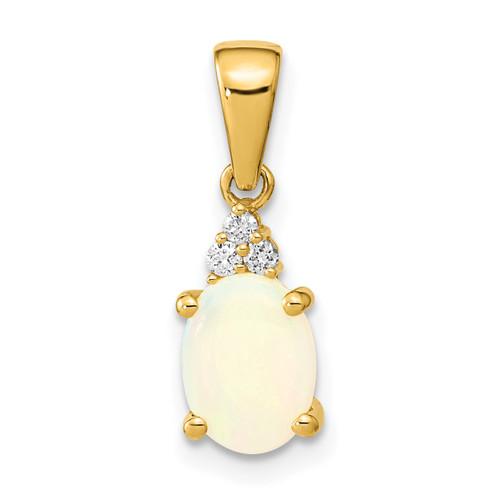 Lex & Lu 14k Gold w/Austrian Opal & Diamond Pendant LAL120034 - Lex & Lu