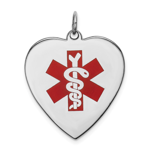 Lex & Lu Sterling Silver Engravable Enameled Large Heart Medical Pendant - Lex & Lu