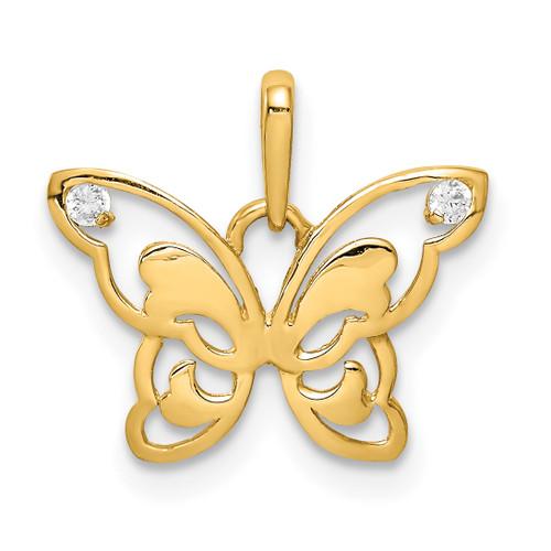 Lex & Lu 14k Yellow Gold Polished CZ Butterfly Pendant - Lex & Lu
