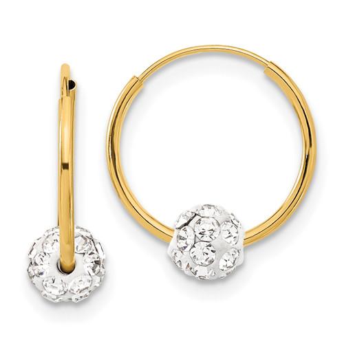 Lex & Lu 14k Yellow Gold Polished Crystal and Resin Bead Endless Hoops - Lex & Lu