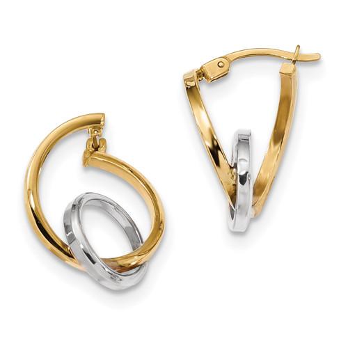 Lex & Lu 14k Two-tone Gold Fancy Polished Hoops - Lex & Lu