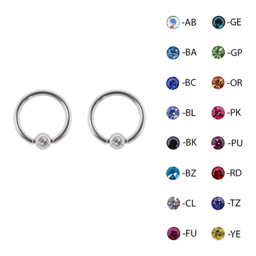 Lex & Lu Pair of Steel Captive Bead Ring CBR Earrings w/Gem 16 & 14 Gauge-2-Lex & Lu
