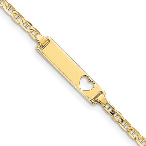 Lex & Lu 10k Yellow Gold Flat Anchor Link ID Bracelet LAL123228 - Lex & Lu
