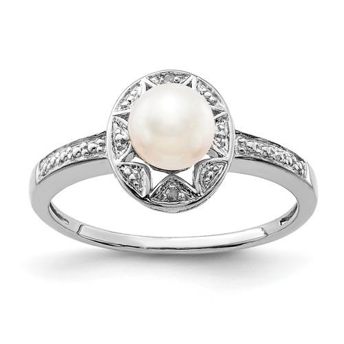 Lex & Lu Sterling Silver Diamond & FW Cultured Pearl Ring - Lex & Lu