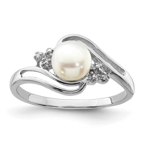 Lex & Lu Sterling Silver w/Rhodium 6mm FW Cultured Button Pearl & Diamond Ring - Lex & Lu