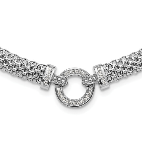 Lex & Lu Sterling Silver w/Rhodium CZ Mesh Link Bracelet or Necklace LAL123811 - Lex & Lu