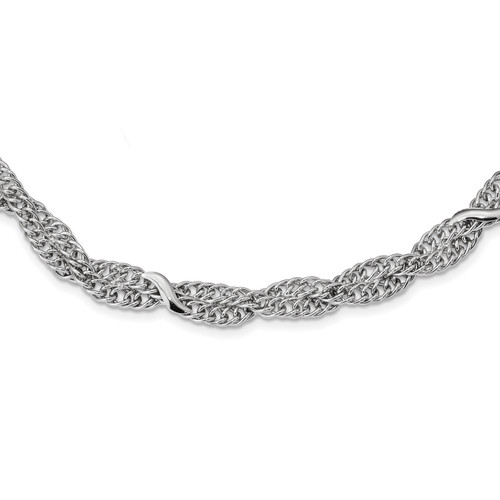 Lex & Lu Sterling Silver w/Rhodium Double Twisted Cable Bracelet or Necklace - Lex & Lu