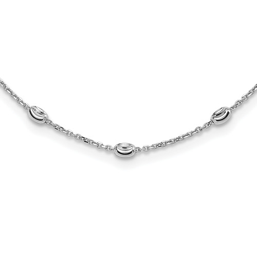 Lex & Lu Sterling Silver D/C Beaded Necklace - Lex & Lu