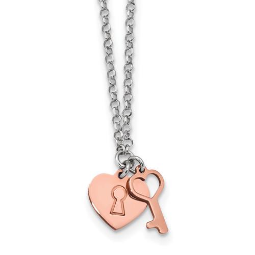 Lex & Lu Sterling Silver w/Rhodium Rose-tone Heart & Key Bracelet or Necklace - Lex & Lu