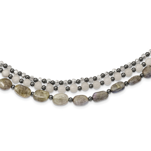 Lex & Lu Sterling Silver Crystal/Hematite/Jade/Labradorite Bracelet or Necklace LALQH5327 - Lex & Lu