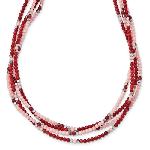 Lex & Lu Sterling Silver Hematite/Red & Peach Coral Bracelet or Necklace - Lex & Lu