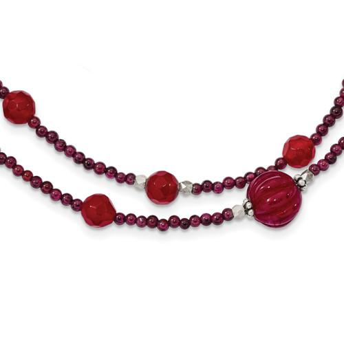 Lex & Lu Sterling Silver Red Avent./Garnet/Red Jade/Red Quartz Bracelet or Necklace - Lex & Lu