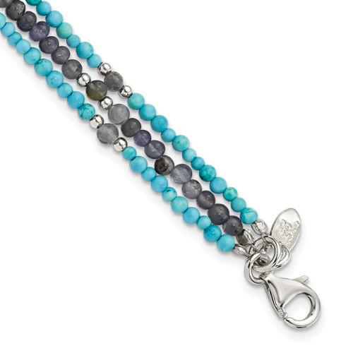 Lex & Lu Sterling Silver Iolite/Lapis Quartz/Recon. Turquoise 3-Strand Bracelet - Lex & Lu