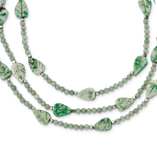 Lex & Lu Sterling Silver Hematite/Quartz/Tree Agate Leaves Bracelet or Necklace - Lex & Lu