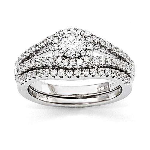 Lex & Lu Sterling Silver & CZ Brilliant Embers 2 Piece Wedding Ring Set LAL124005 - Lex & Lu