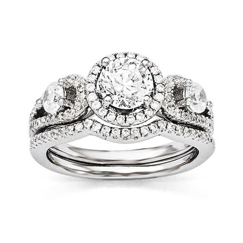 Lex & Lu Sterling Silver & CZ Brilliant Embers Rhodium 2 Piece Wedding Ring Set LAL124006 - Lex & Lu