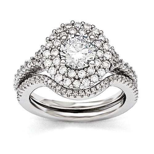 Lex & Lu Sterling Silver & CZ Brilliant Embers Rhodium 2 Piece Wedding Ring Set LAL124007 - Lex & Lu