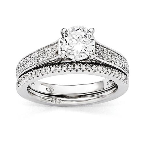 Lex & Lu Sterling Silver & CZ Brilliant Embers Rhodium 2 Piece Wedding Ring Set LAL124008 - Lex & Lu