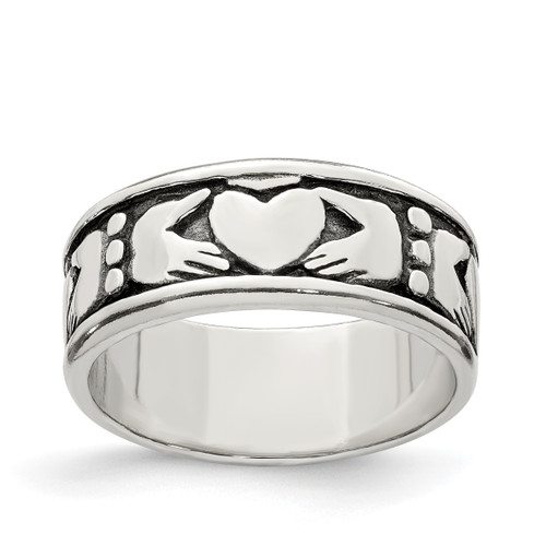 Lex & Lu Sterling Silver Claddagh Design Ring LAL124118 - Lex & Lu