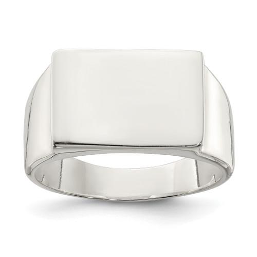 Lex & Lu Sterling Silver 11x15mm Closed Back Signet Ring - Lex & Lu
