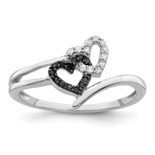 Lex & Lu Sterling Silver Black & White Diamond Heart Ring LAL125006 - Lex & Lu