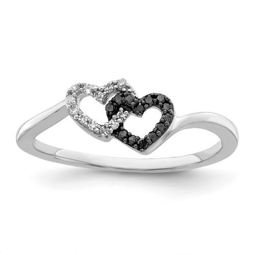 Lex & Lu Sterling Silver Black & White Diamond Heart Ring LAL125008 - Lex & Lu