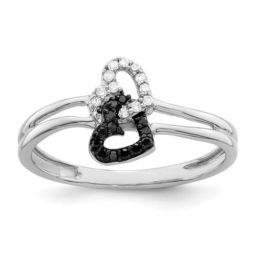 Lex & Lu Sterling Silver Black & White Diamond Heart Ring LAL125009 - Lex & Lu