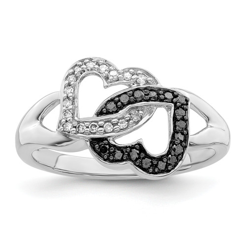 Lex & Lu Sterling Silver Black & White Diamond Ring LAL125010 - Lex & Lu