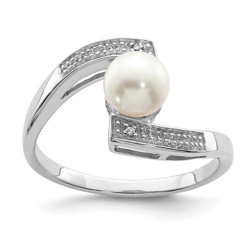 Lex & Lu Sterling Silver w/Rhodium Diamond & FWC Pearl Ring LAL125052 - Lex & Lu