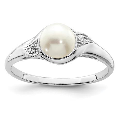 Lex & Lu Sterling Silver w/Rhodium Diamond & FWC Pearl Ring LAL125053 - Lex & Lu