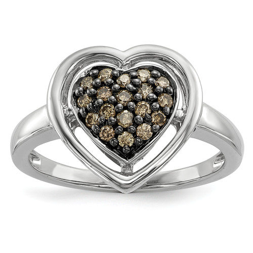 Lex & Lu Sterling Silver Champagne Diamond Heart Ring - Lex & Lu