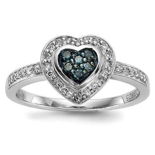 Lex & Lu Sterling Silver Blue Diamond Small Heart Ring LAL125105 - Lex & Lu