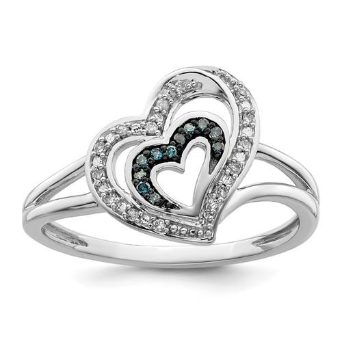 Lex & Lu Sterling Silver Blue and White Diamond Heart Ring LAL125106 - Lex & Lu