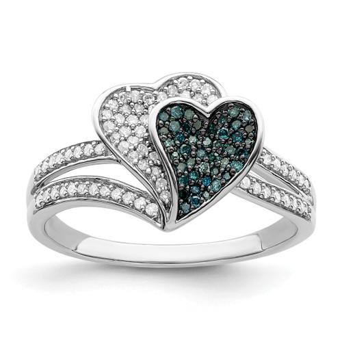 Lex & Lu Sterling Silver w/Rhodium Blue & White Diamond Hearts Ring - Lex & Lu