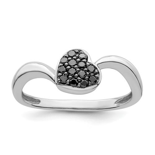 Lex & Lu Sterling Silver Black Diamond Small Heart Ring - Lex & Lu