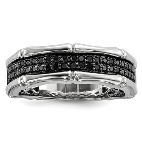 Lex & Lu Sterling Silver Black Diamond Men's Ring LAL125173 - Lex & Lu