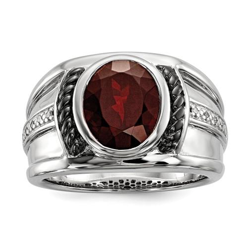 Lex & Lu Sterling Silver Garnet & Diamond Oval Black Rhodium-plated Men's Ring - Lex & Lu