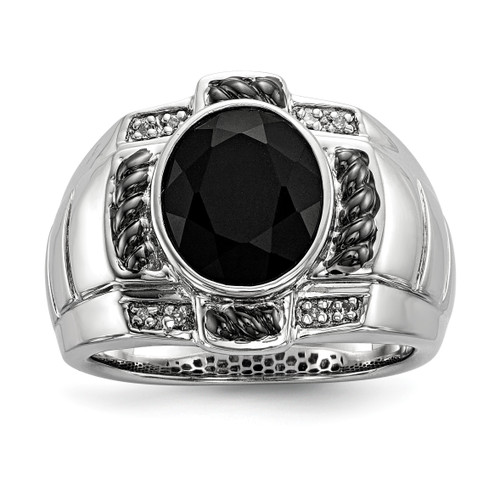 Lex & Lu Sterling Silver Diamond & Onyx Oval Black Rhodium-plated Men's Ring - Lex & Lu