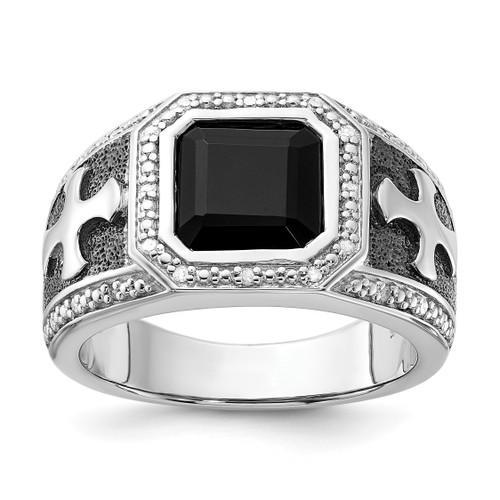 Lex & Lu Sterling Silver Diamond & Onyx Black Rhodium-plated Cross Men's Ring - Lex & Lu