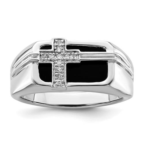 Lex & Lu Sterling Silver w/Rhodium Diamond Black Onyx Cross Men's Ring - Lex & Lu