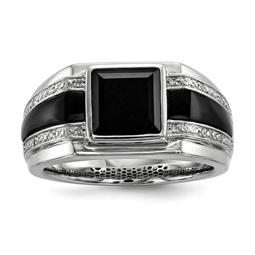 Lex & Lu Sterling Silver Diamond & Onyx Men's Ring LAL125183 - Lex & Lu