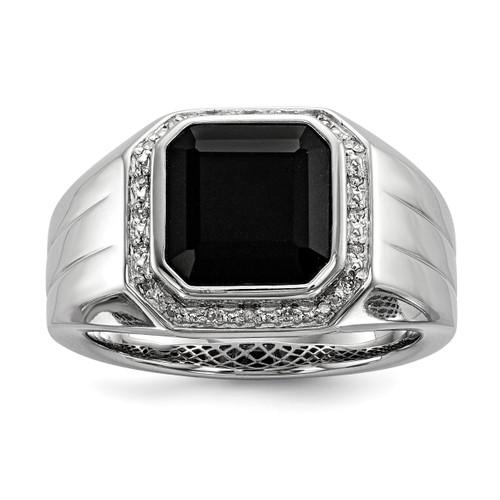 Lex & Lu Sterling Silver Diamond & Black Onyx Square Men's Ring - Lex & Lu