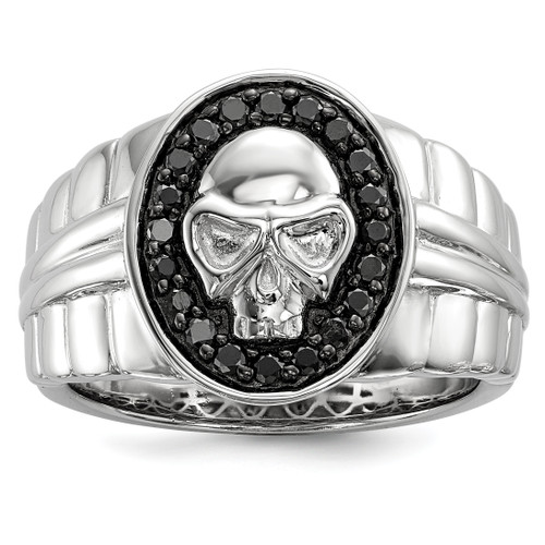Lex & Lu Sterling Silver Black Diamond Oval Skull Men's Ring - Lex & Lu