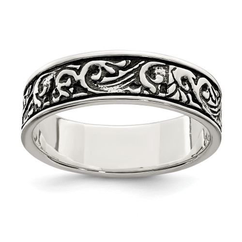 Lex & Lu Sterling Silver Polished and Antiqued Filigree Women's Ring - Lex & Lu