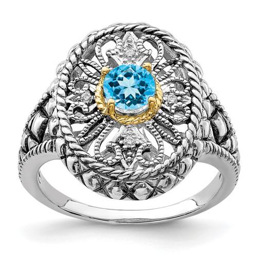 Lex & Lu 14k Gold & Sterling Silver Blue Topaz & CZ Filigree Oval Fancy Ring - Lex & Lu