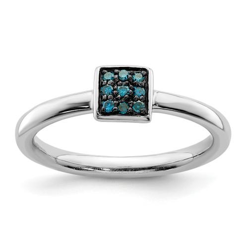 Lex & Lu Sterling Silver Blue Diamond Ring - Lex & Lu