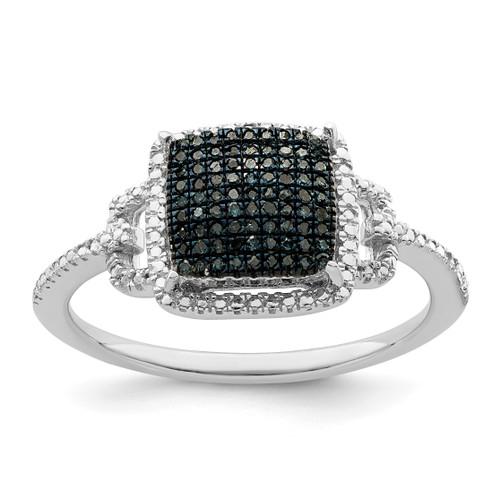 Lex & Lu Sterling Silver Blue and White Diamond Ring LAL125276 - Lex & Lu